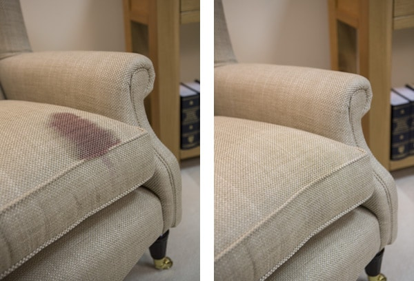 Wine stains on the sofa