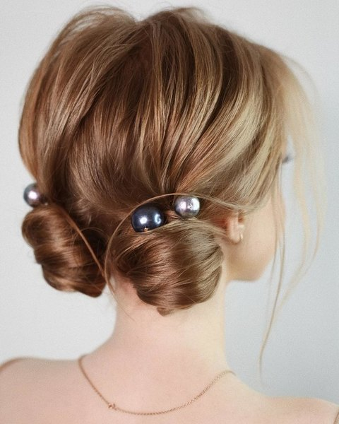 wedding hairstyle dark perles