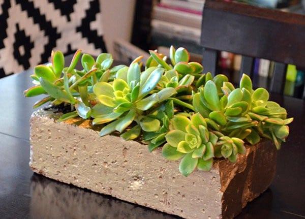 brick flower pot decor idea