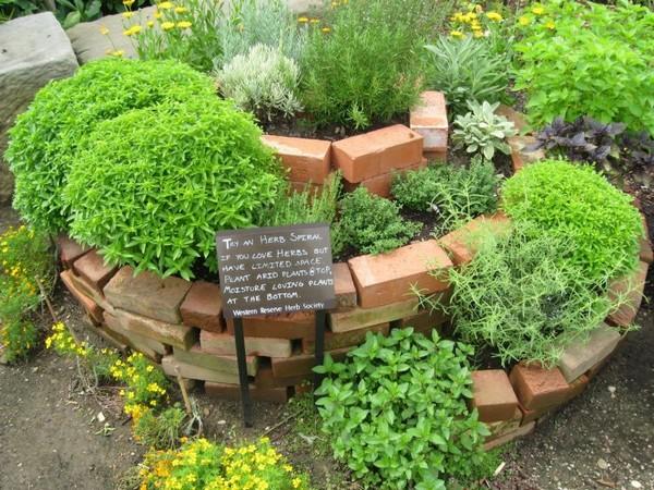 spiral flowerbed from old bricks