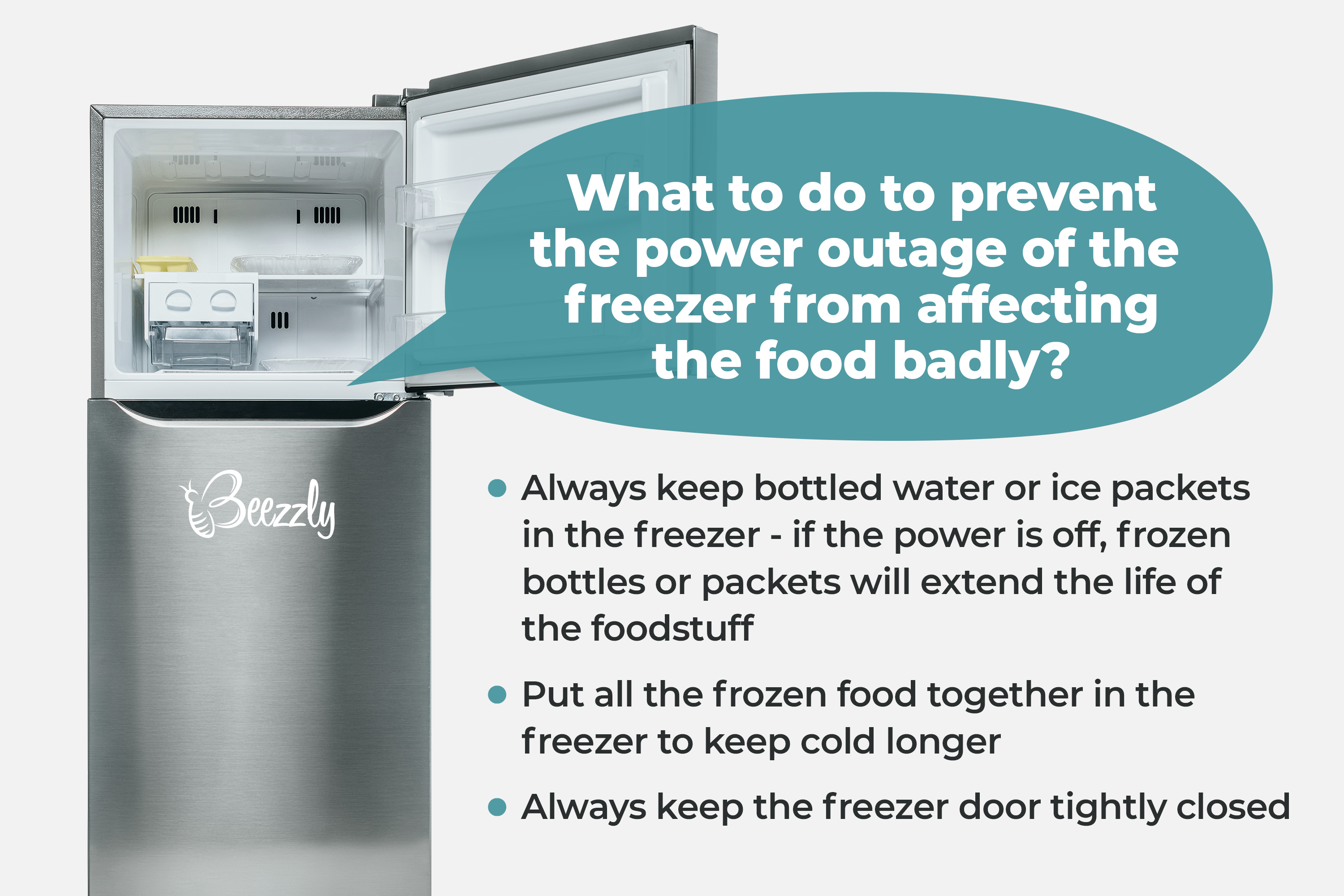 What to do to prevent the power outage of the freezer from affecting the food badly