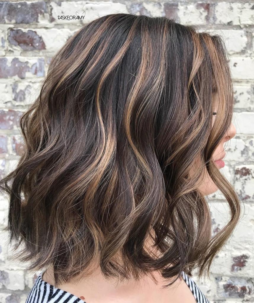 Beige highlights for short hair
