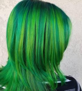 Bright green strands