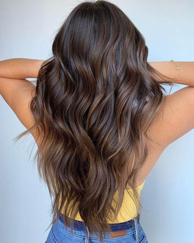 Brown hair with bronze highlights