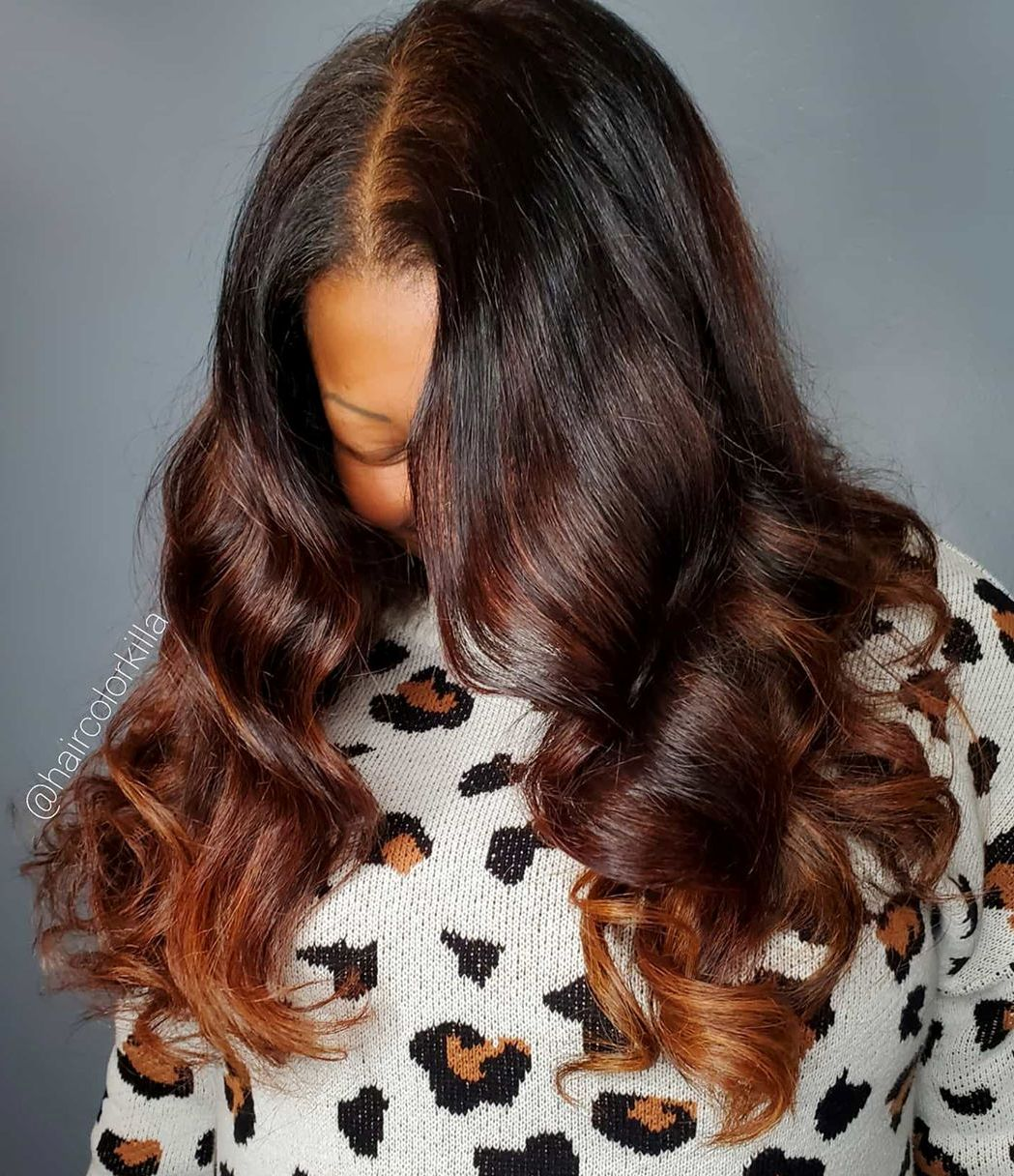 Brunette Highlights with auburn ends