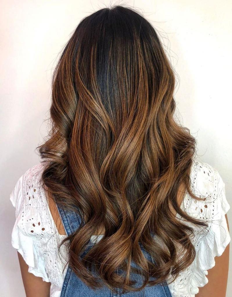 Dark brown hair with light chocolate