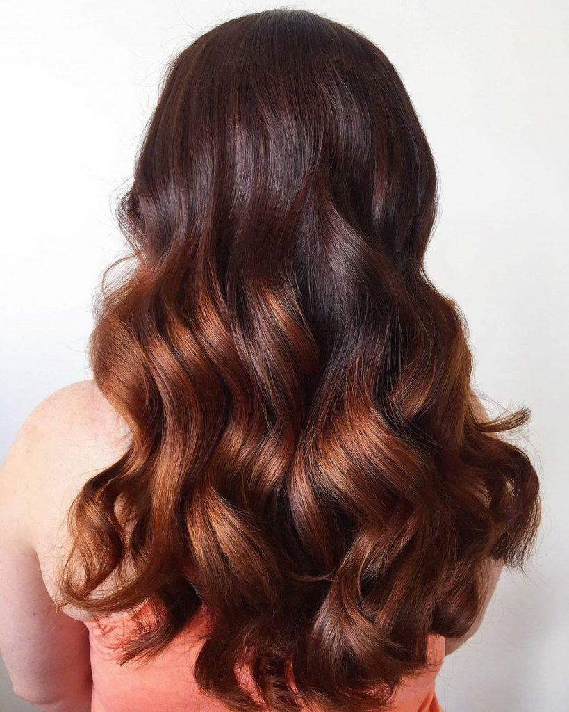 Dark hair color with caramel ombre