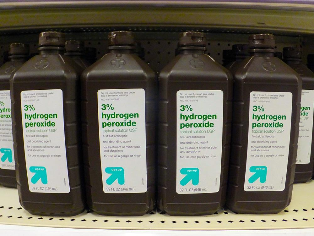Hydrogen peroxide on a shelf.