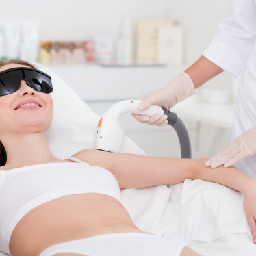 A woman getting laser therapy