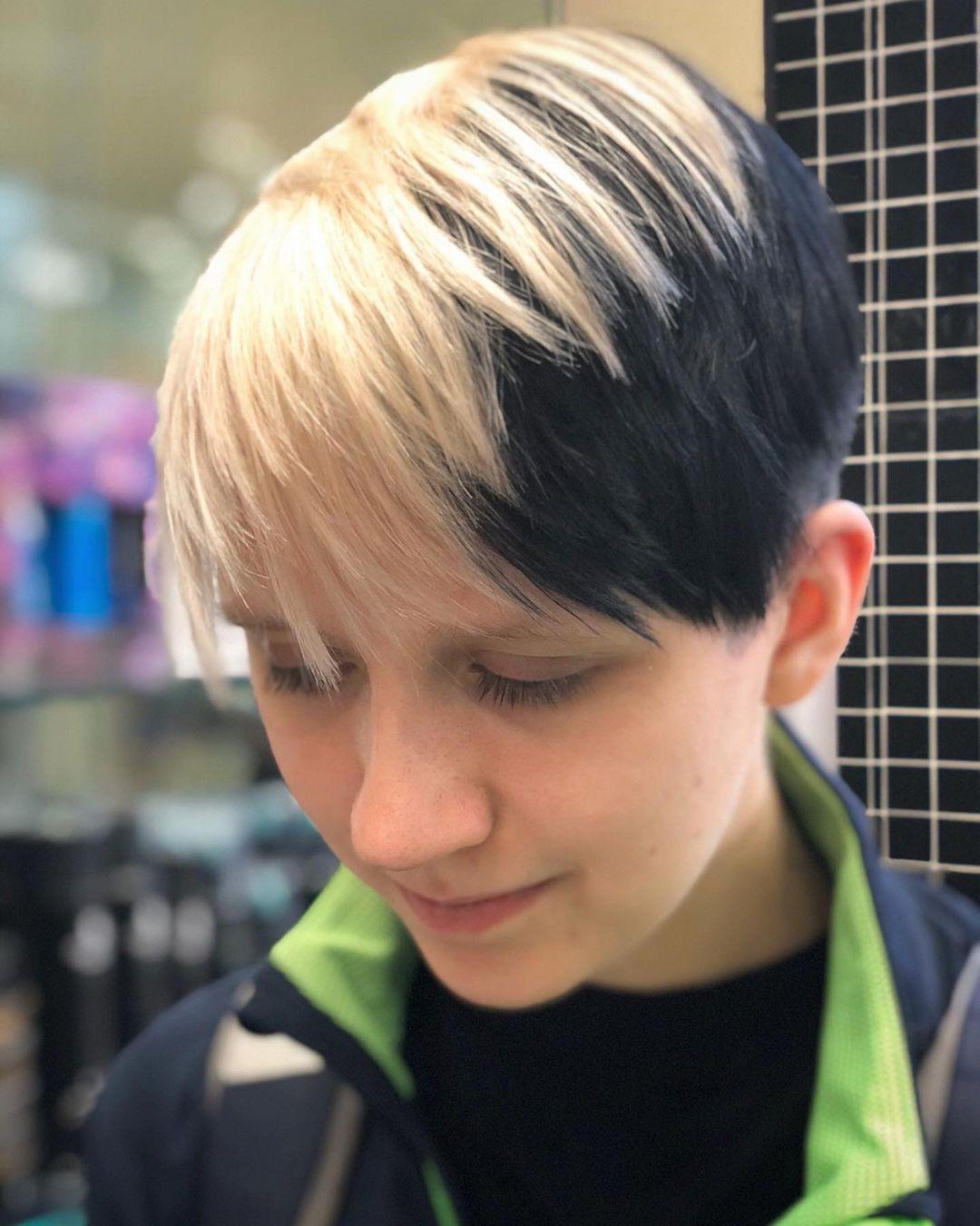Half Black Half Blonde Pixie Hair Style